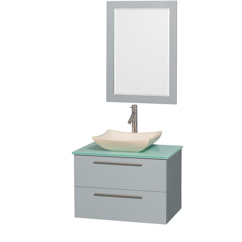 """Meuble s. bains simp Amare 30"""" gris colombe, comptoir verre vert, évier marbre ivoire, mir 24"""""""