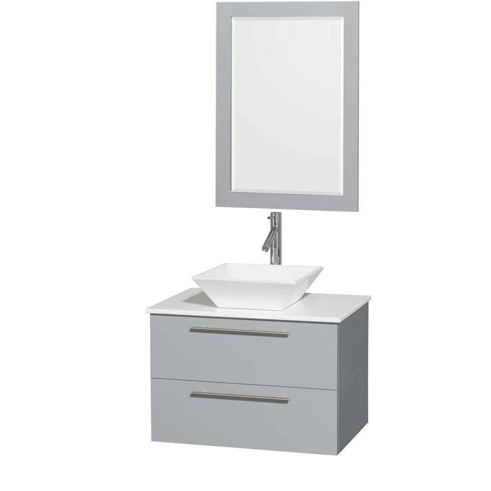 Amare 30-inch W Vanity in Dove Grey with Solid Top, Porcelain Sink and 24-inch Mirror