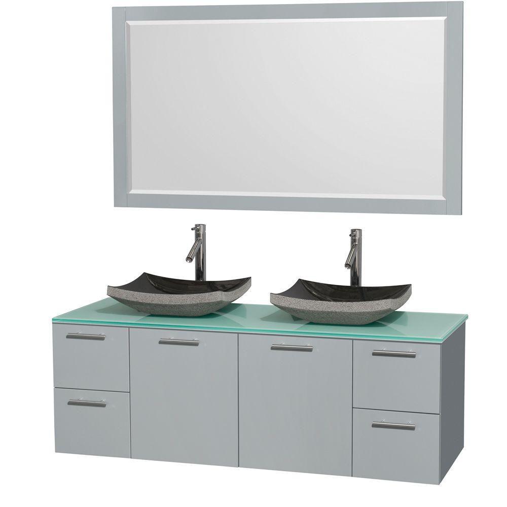 """Meuble s. bains dbl Amare 60"""" gris colombe, comptoir verre vert, éviers granit noir, mir 58"""""""