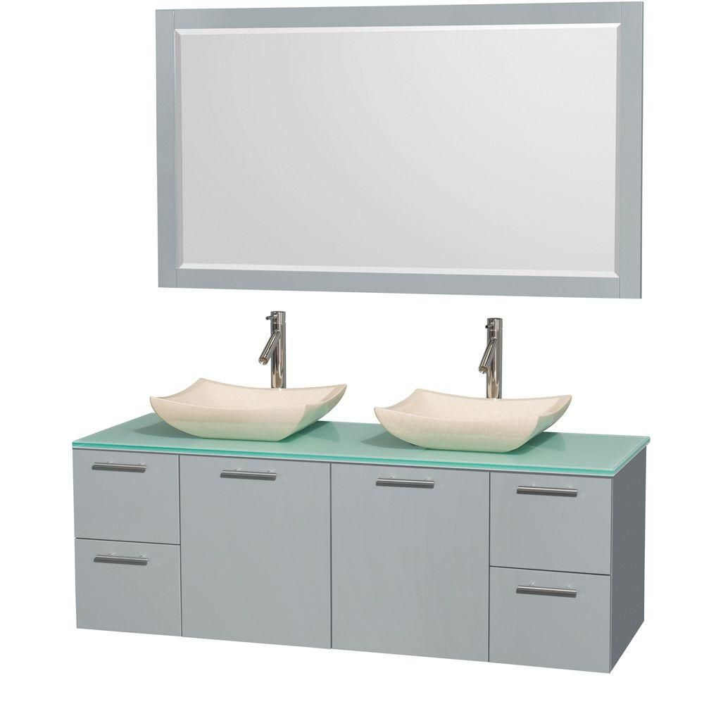 Amare 60-inch W Double Vanity in Dove Grey with Glass Top, Marble Sinks and Mirror