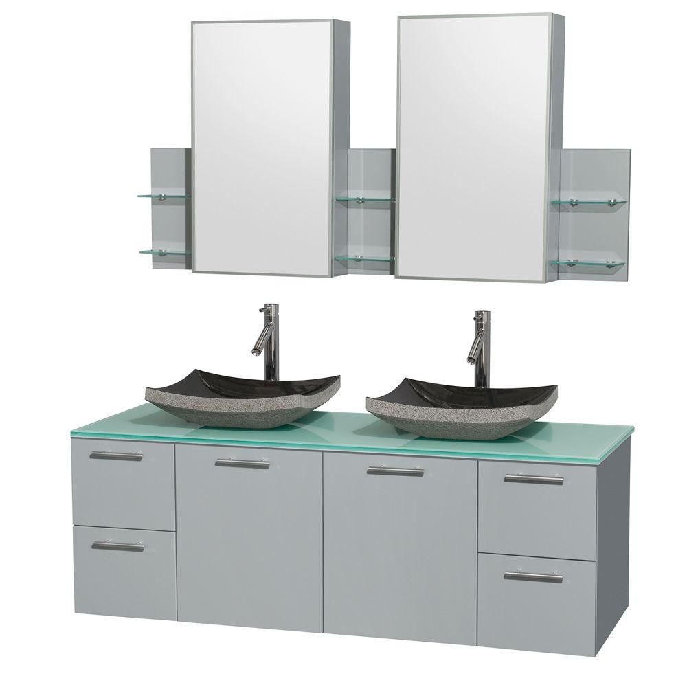 Amare 60-inch W Double Vanity in Dove Grey with Glass Top and Black Granite Sinks