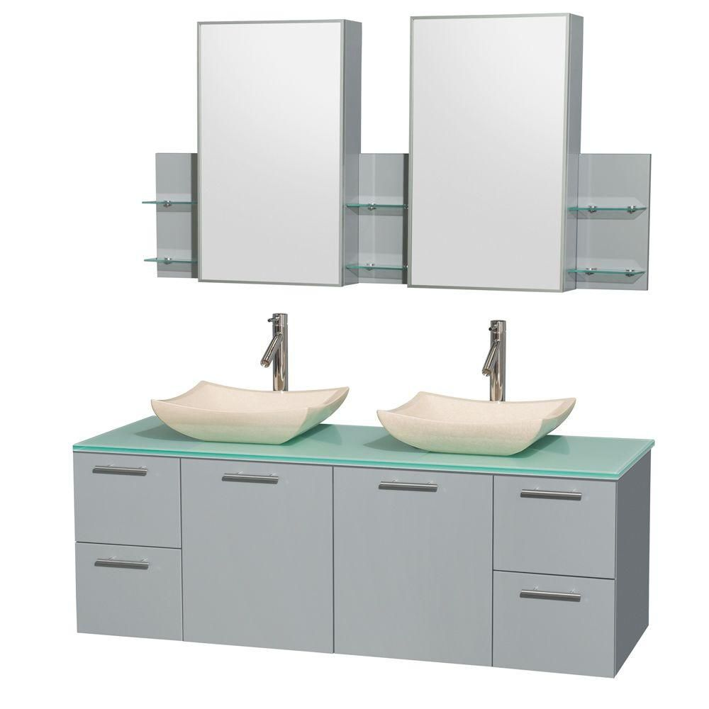 Amare 60-inch W Double Vanity in Dove Grey with Glass Top and Ivory Marble Sinks