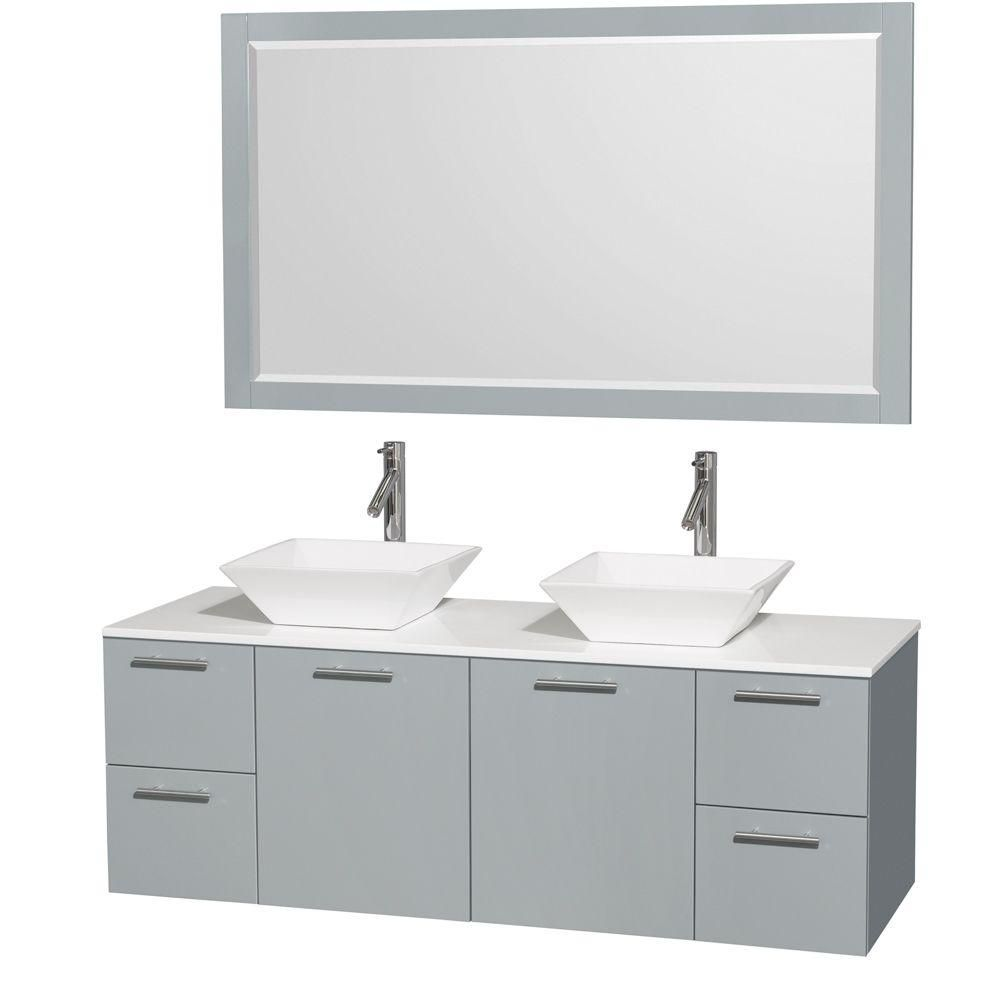 Amare 60-inch W Double Vanity in Dove Grey with Solid Top, Porcelain Sinks and Mirror