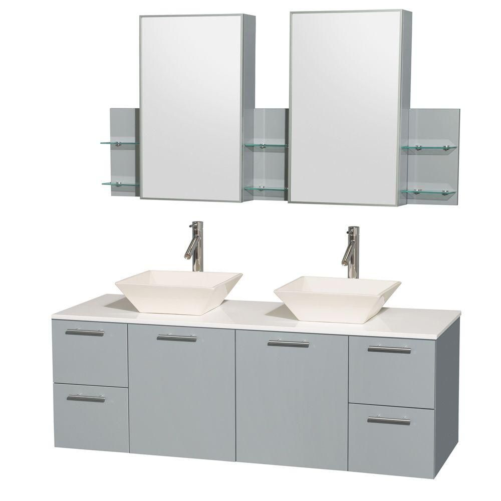 Amare 60-inch W Double Vanity in Dove Grey with Solid Top and Bone Porcelain Sinks