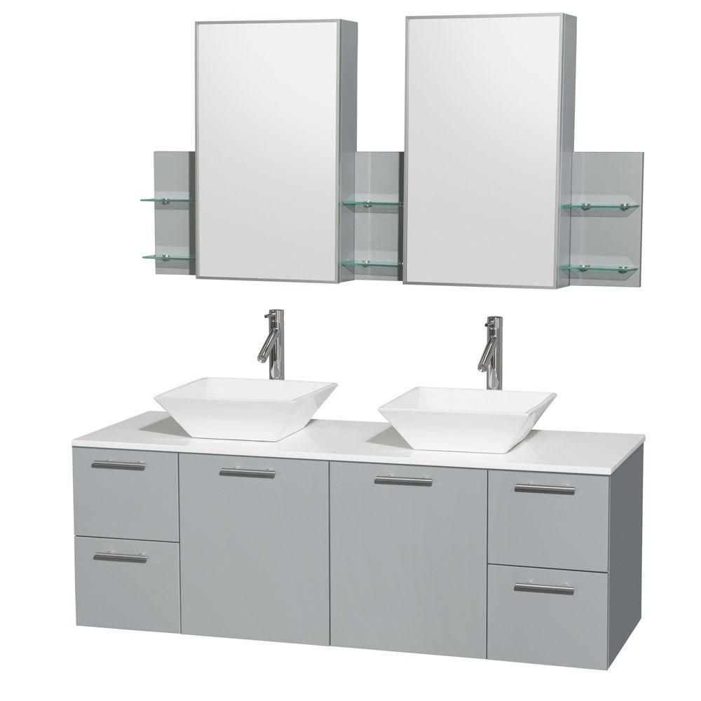 Amare 60-inch W Double Vanity in Dove Grey with Solid Top and White Porcelain Sinks