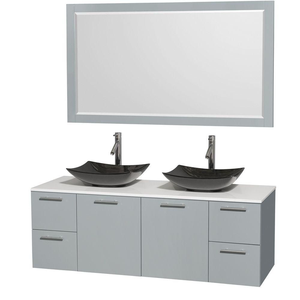 Amare 60-inch W Double Vanity in Dove Grey with Solid Top, Granite Sinks and Mirror