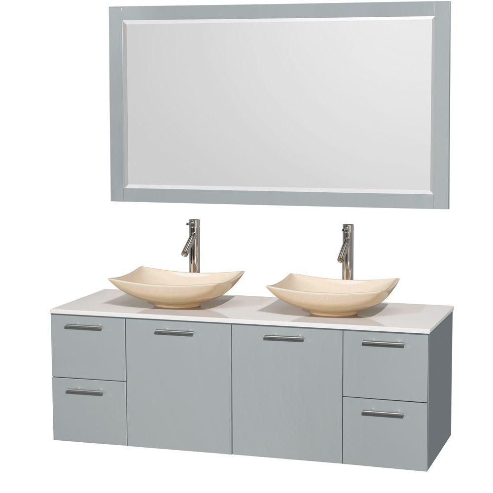 Amare 60-inch W Double Vanity in Dove Grey with Solid Top, Marble Sinks and Mirror
