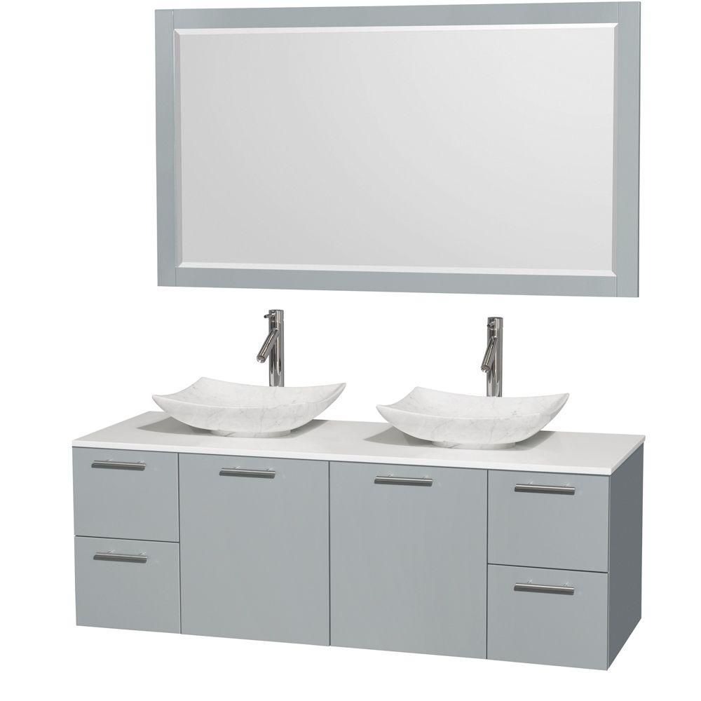 Amare 60-inch W Double Vanity in Dove Grey with Solid Top, Carrara Sinks and Mirror