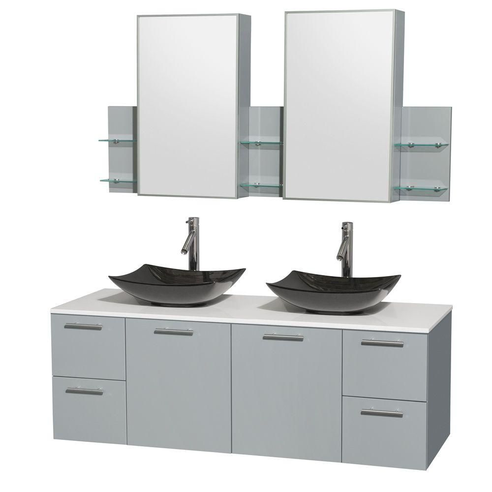 Amare 60-inch W Double Vanity in Dove Grey with Solid Top and Black Granite Sinks