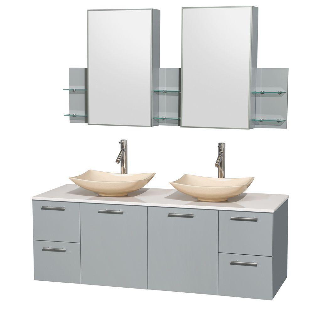"""Meuble s. bains dbl Amare 60"""" gris colombe, comptoir solide blanc, éviers marbre ivoire, arm. méd..."""