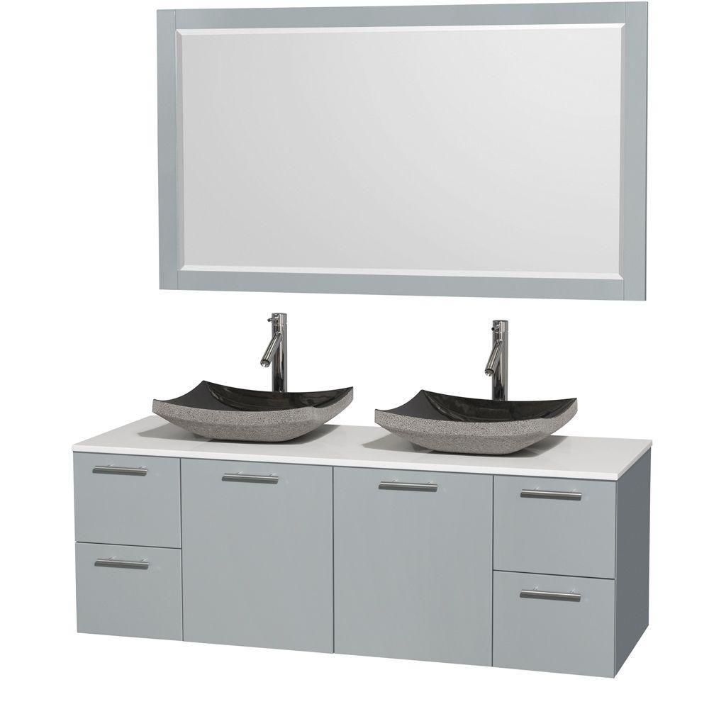 """Meuble s. bains dbl Amare 60"""" gris colombe, comptoir solide blanc, éviers granit noir, mir 58"""""""