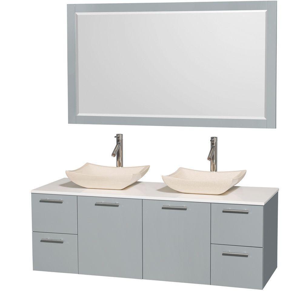 """Meuble s. bains dbl Amare 60"""" gris colombe, comptoir solide blanc, éviers marbre ivoire, mir 58"""""""