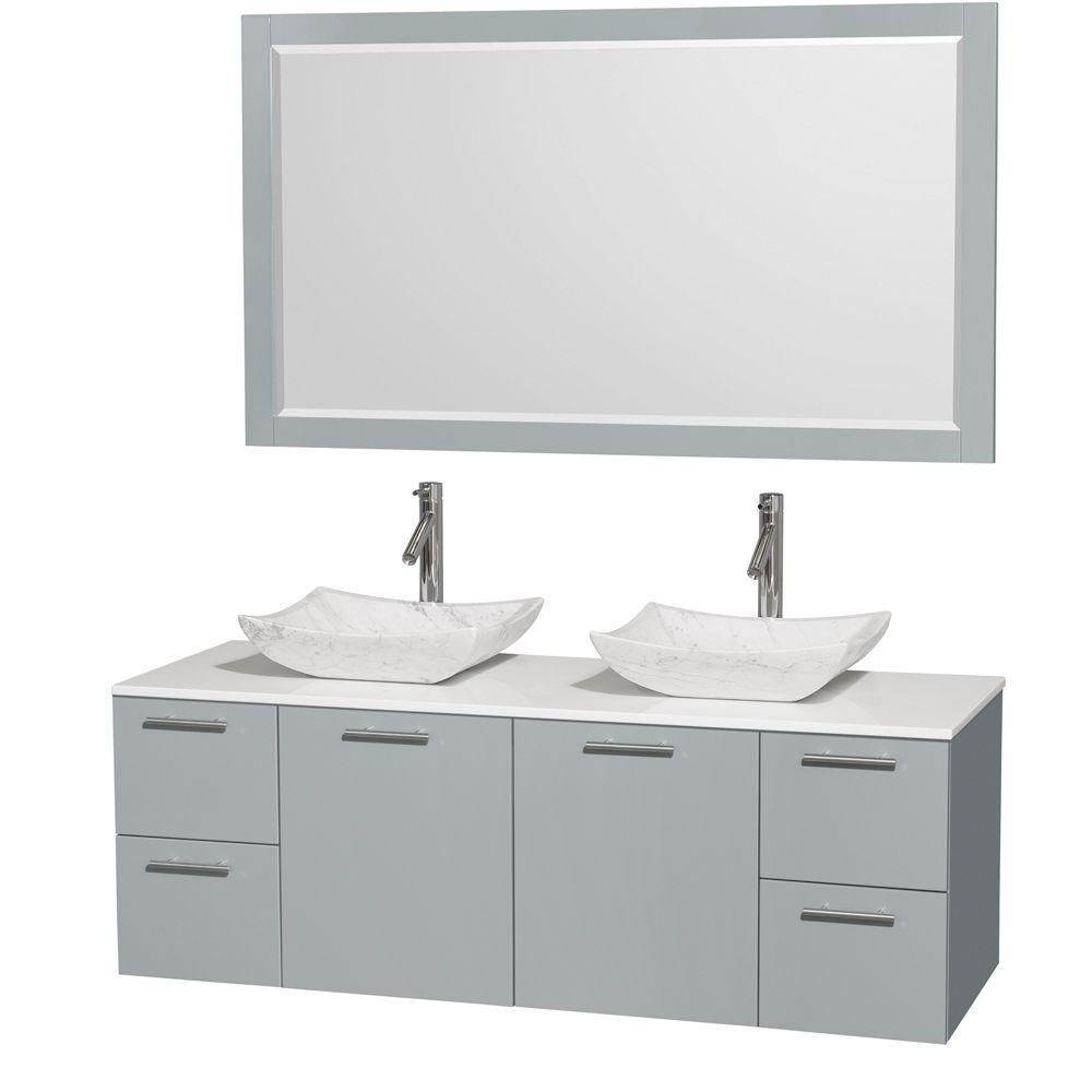 Amare 60-inch W Double Vanity in Dove Grey with Solid Top, Carrara White Sinks and Mirror