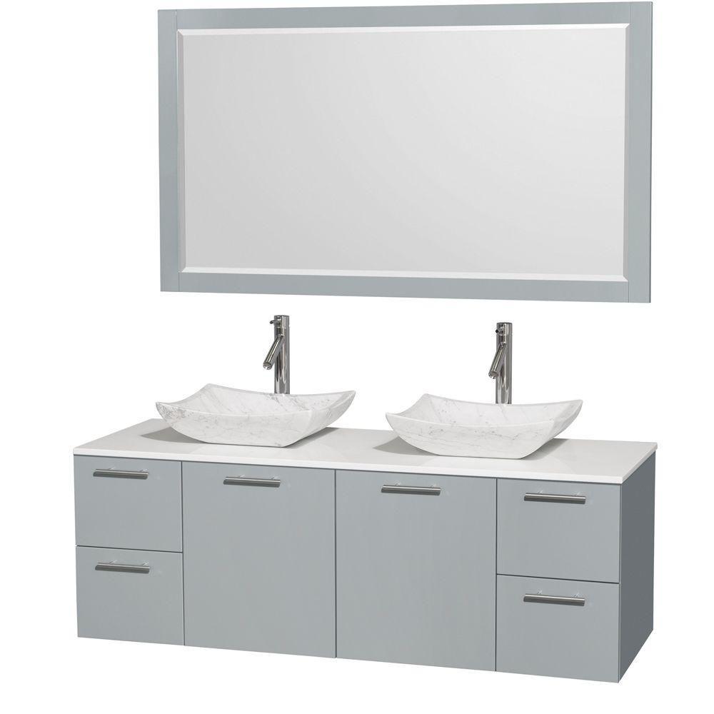 """Meuble s. bains dbl Amare 60"""" gris colombe, comptoir solide blanc, éviers Carrare blc, mir 58"""""""