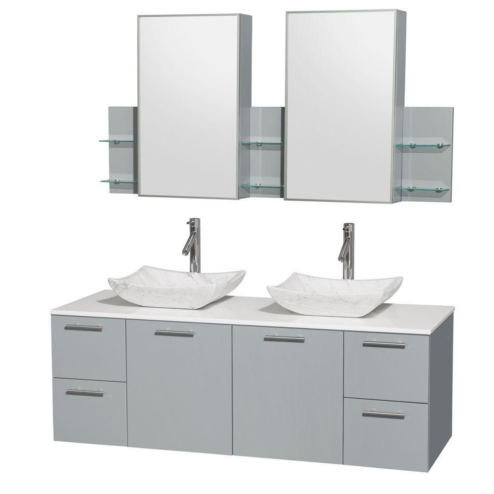 Amare 60-inch W Double Vanity in Dove Grey with Solid Top and Carrara White Sinks