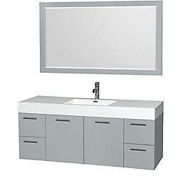 Wyndham Collection Amare 60-inch W 4-Drawer 2-Door Wall Mounted Vanity in Grey With Acrylic Top in White With Mirror