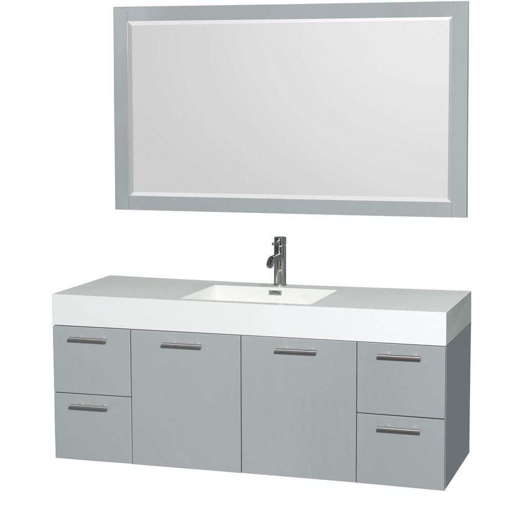 Amare 60-inch W Vanity in Dove Grey with Acrylic-Resin Top and Mirror