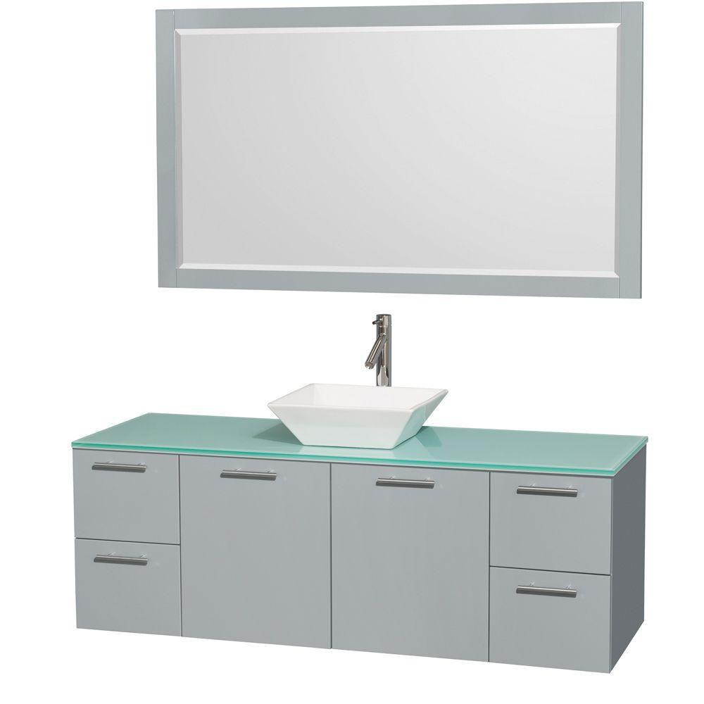 """Meuble s. bains simp Amare 60"""" gris colombe, comptoir verre vert, évier porcelaine blc, mir 58"""""""
