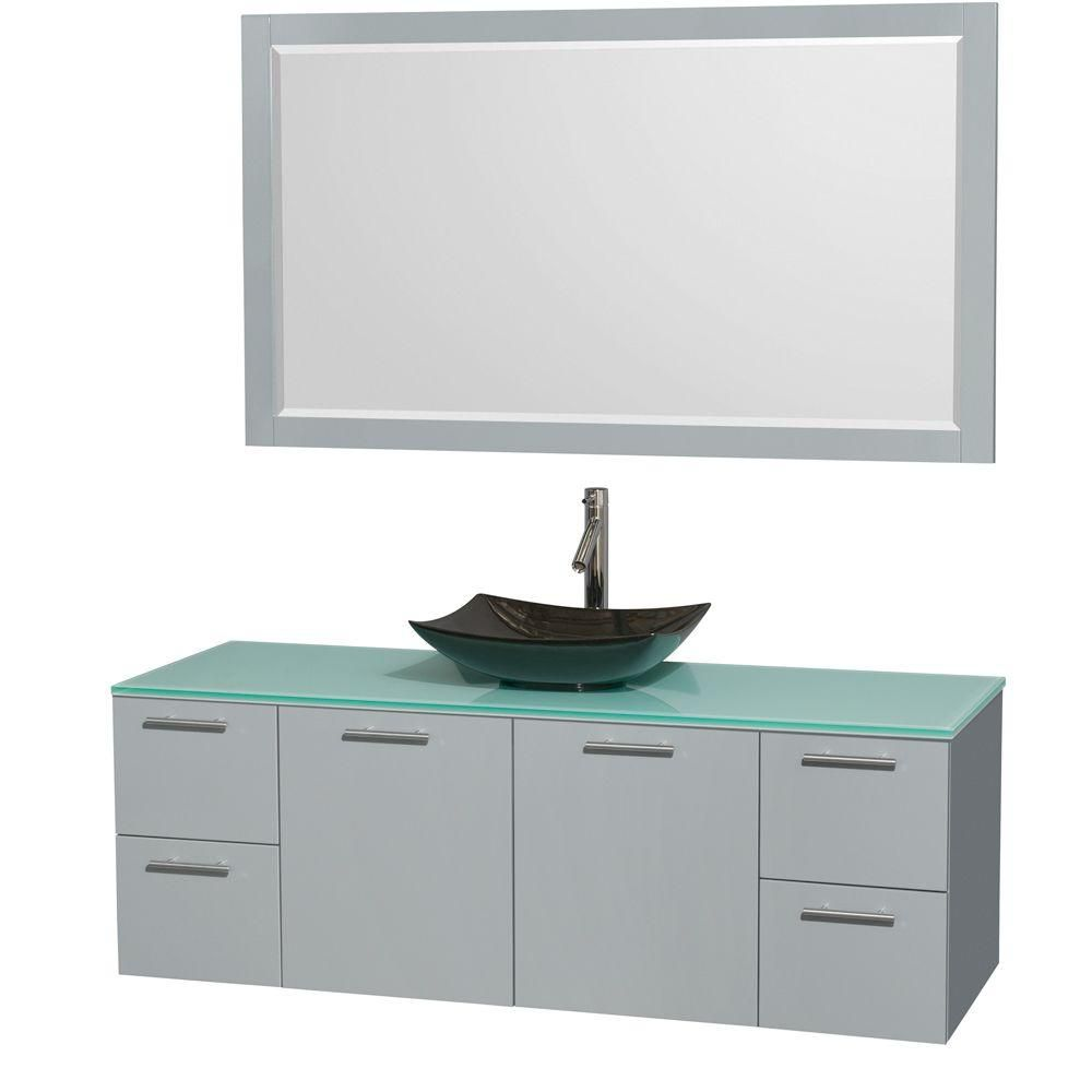 Amare 60-inch W Vanity in Dove Grey with Glass Top, Granite Sink and Mirror