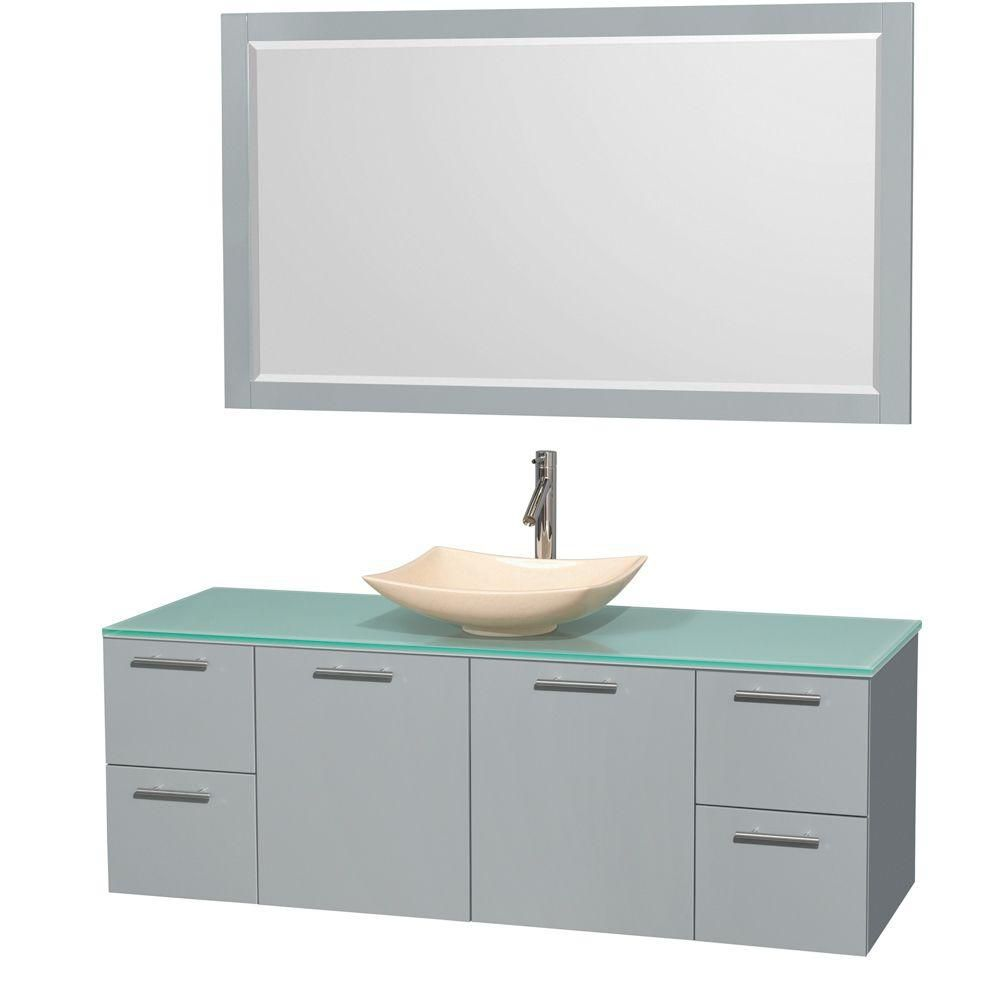 Amare 60-inch W Vanity in Dove Grey with Glass Top, Marble Sink and Mirror