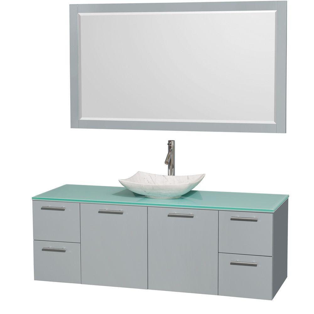 """Meuble s. bains simp Amare 60"""" gris colombe, comptoir verre vert, évier Carrare blc, mir 58"""""""