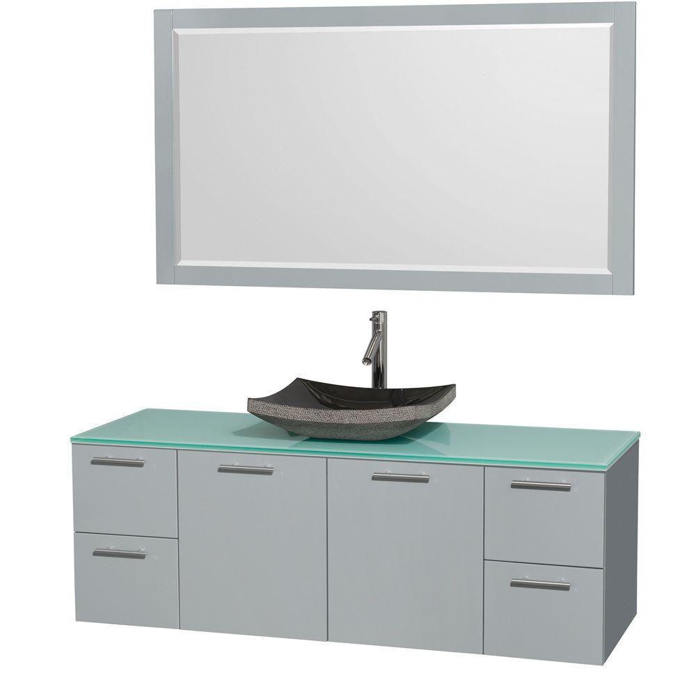 """Meuble s. bains simp Amare 60"""" gris colombe, comptoir verre vert, évier granit noir, mir 58"""""""