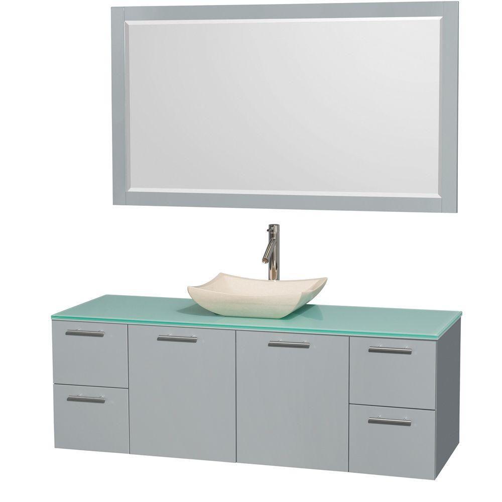 """Meuble s. bains simp Amare 60"""" gris colombe, comptoir verre vert, évier marbre ivoire, mir 58"""""""