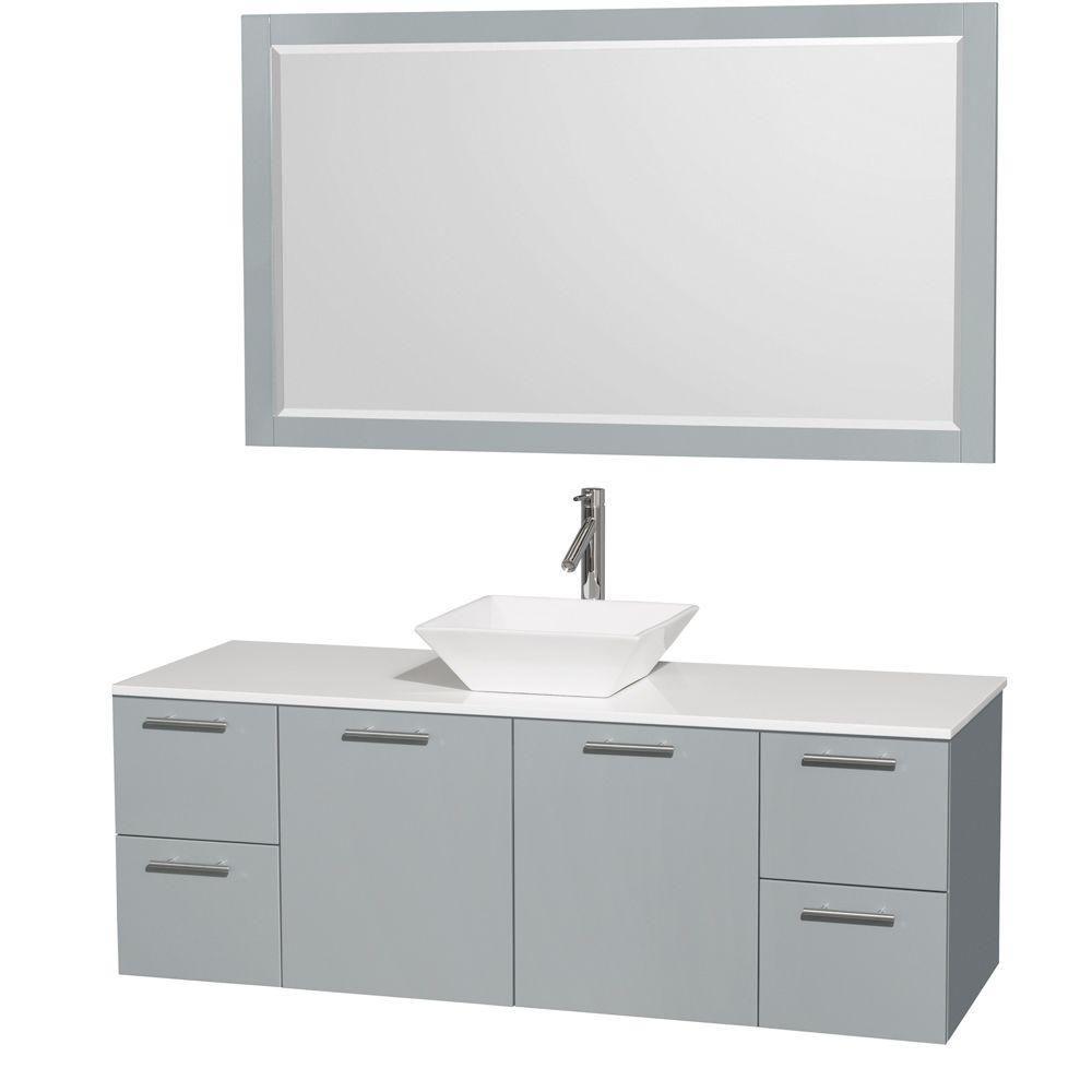 """Meuble s. bains simp Amare 60"""" gris colombe, comptoir solide blanc, évier porcelaine blc, mir 58"""""""