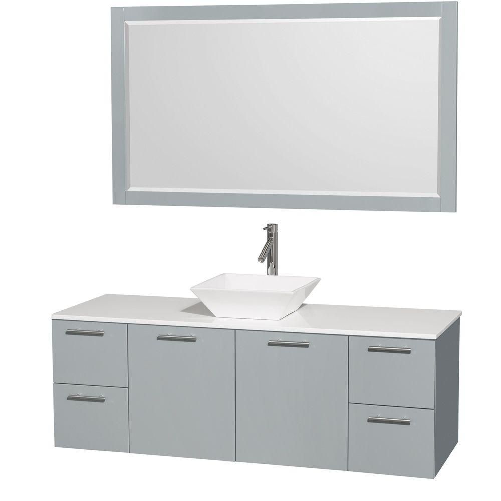 Amare 60-inch W Vanity in Dove Grey with Solid Top, Porcelain Sink and Mirror