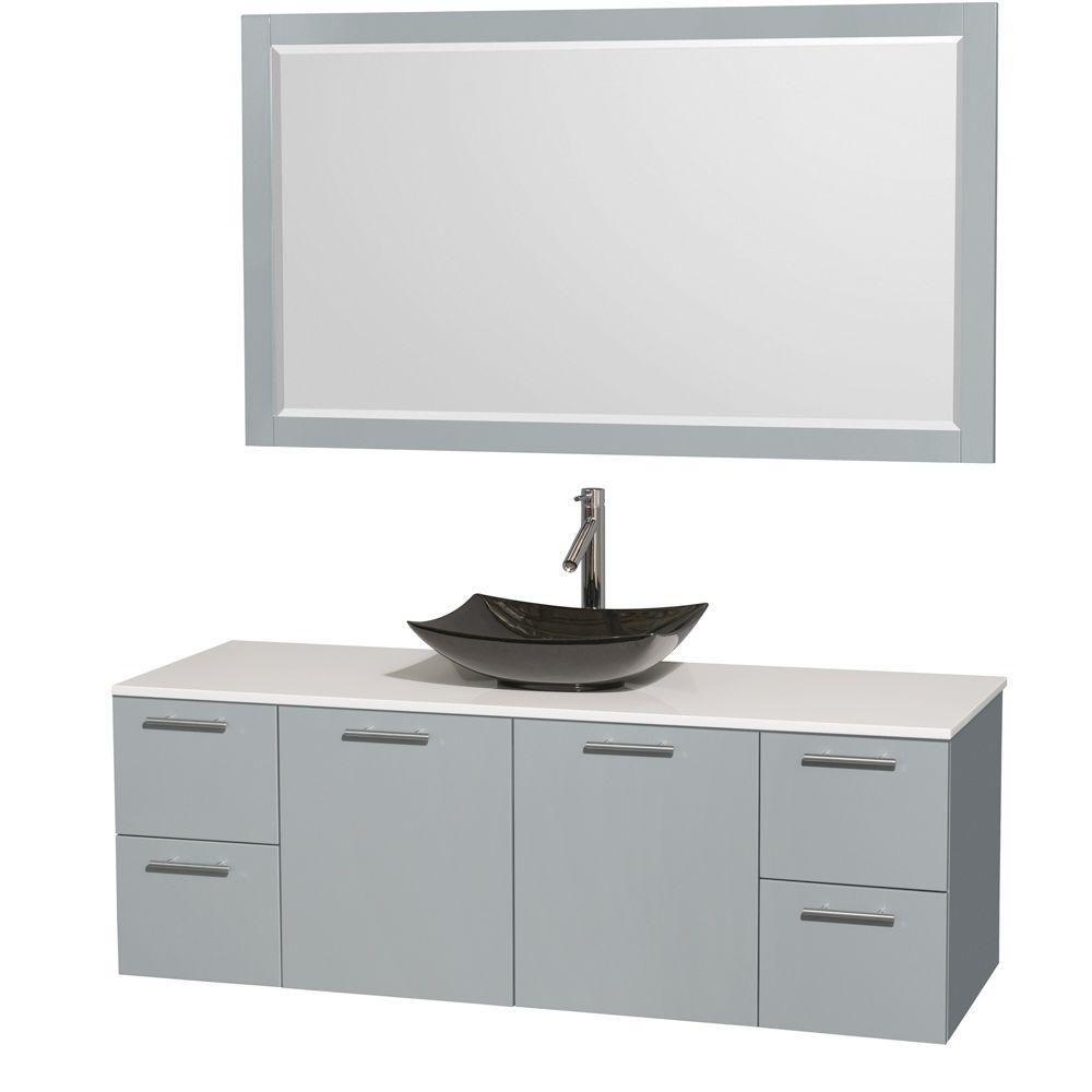 """Meuble s. bains simp Amare 60"""" gris colombe, comptoir solide blanc, évier granit noir, mir 58"""""""