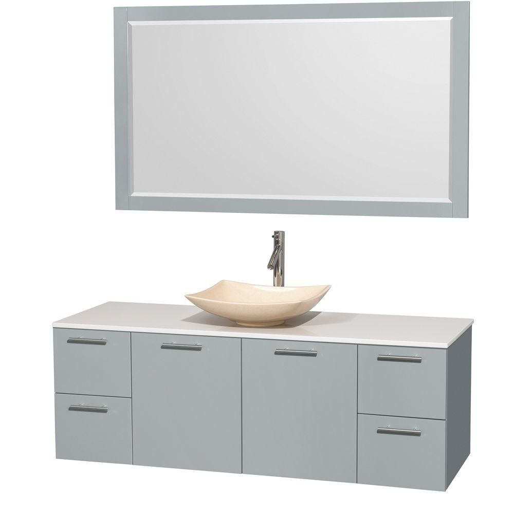Amare 60-inch W Vanity in Dove Grey with Solid Top, Marble Sink and Mirror
