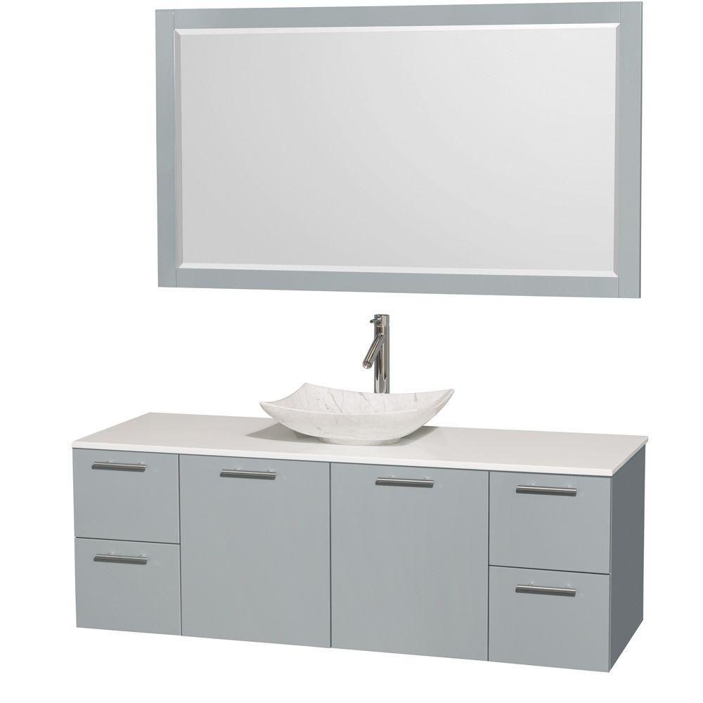 """Meuble s. bains simp Amare 60"""" gris colombe, comptoir solide blanc, évier Carrare blc, mir 58"""""""