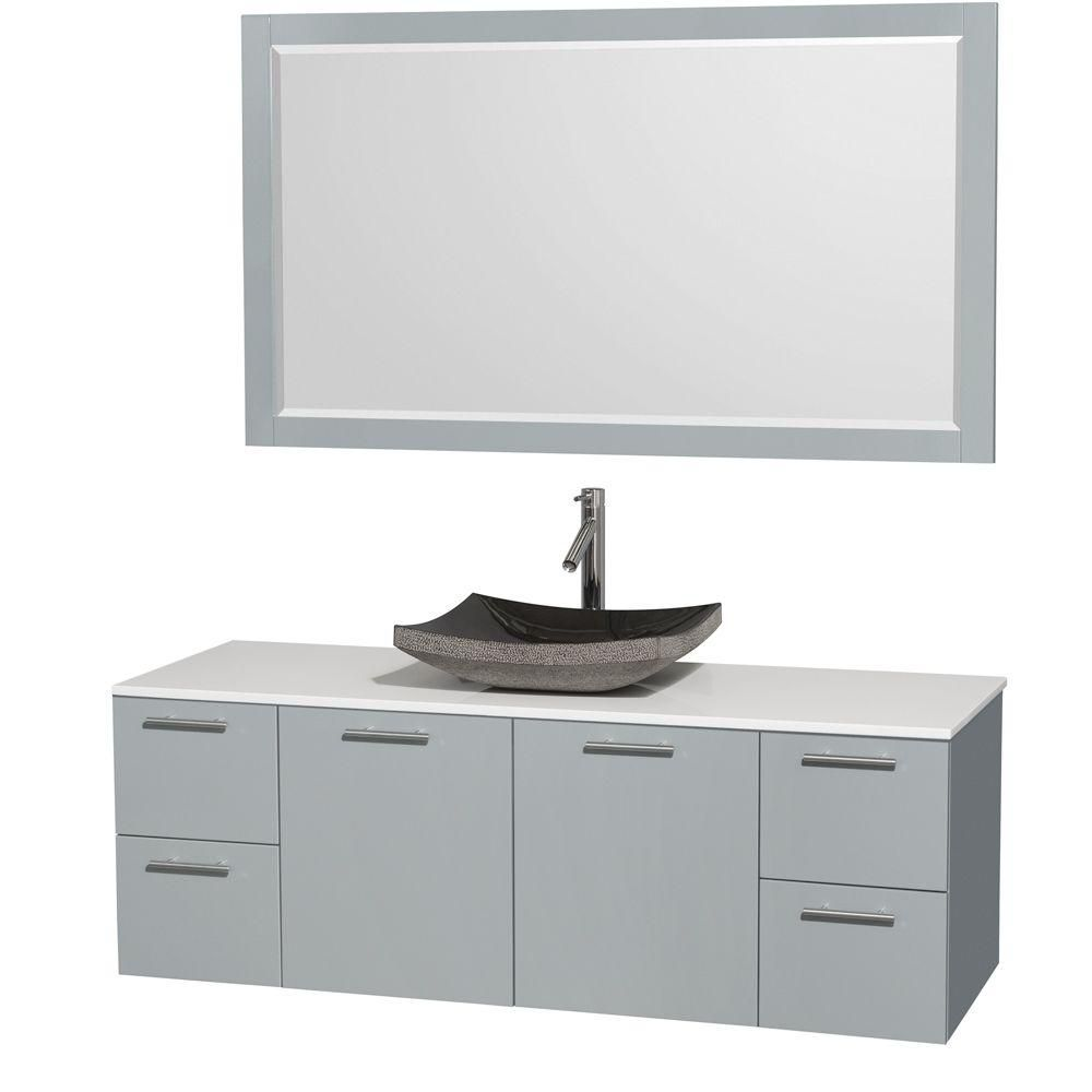Amare 60-inch W Vanity in Dove Grey with Solid Top, Granite Sink and Mirror