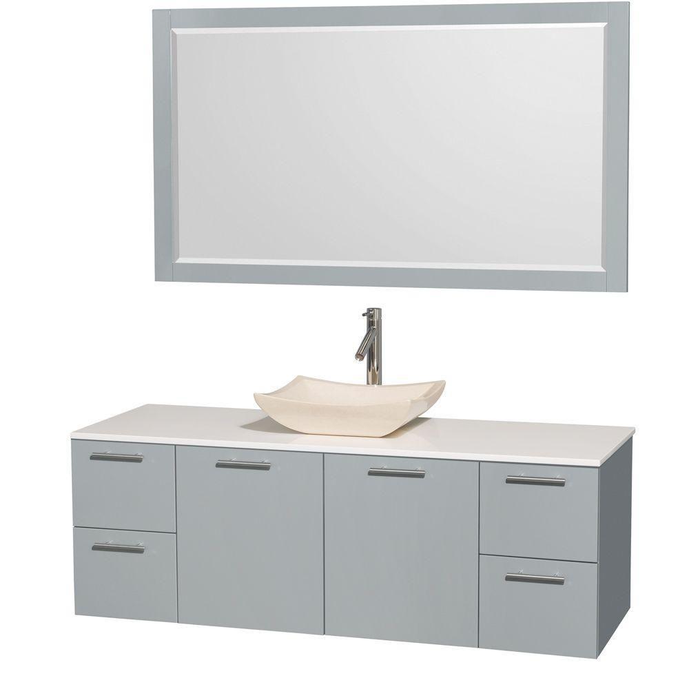 """Meuble s. bains simp Amare 60"""" gris colombe, comptoir solide blanc, évier marbre ivoire, mir 58"""""""