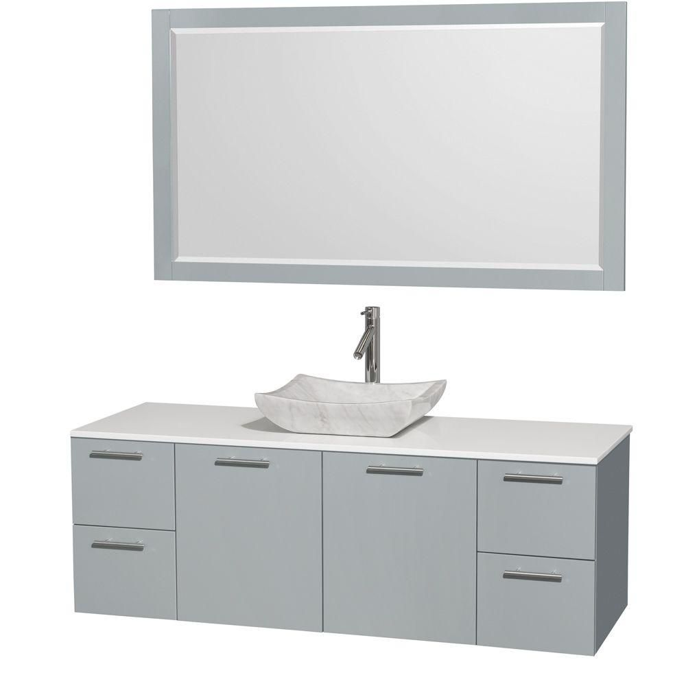 Amare 60-inch W Vanity in Dove Grey with Solid Top, Carrara Sink and Mirror