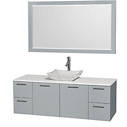 Wyndham Collection Amare 60-inch W 4-Drawer 2-Door Wall Mounted Vanity in Grey With Artificial Stone Top in White