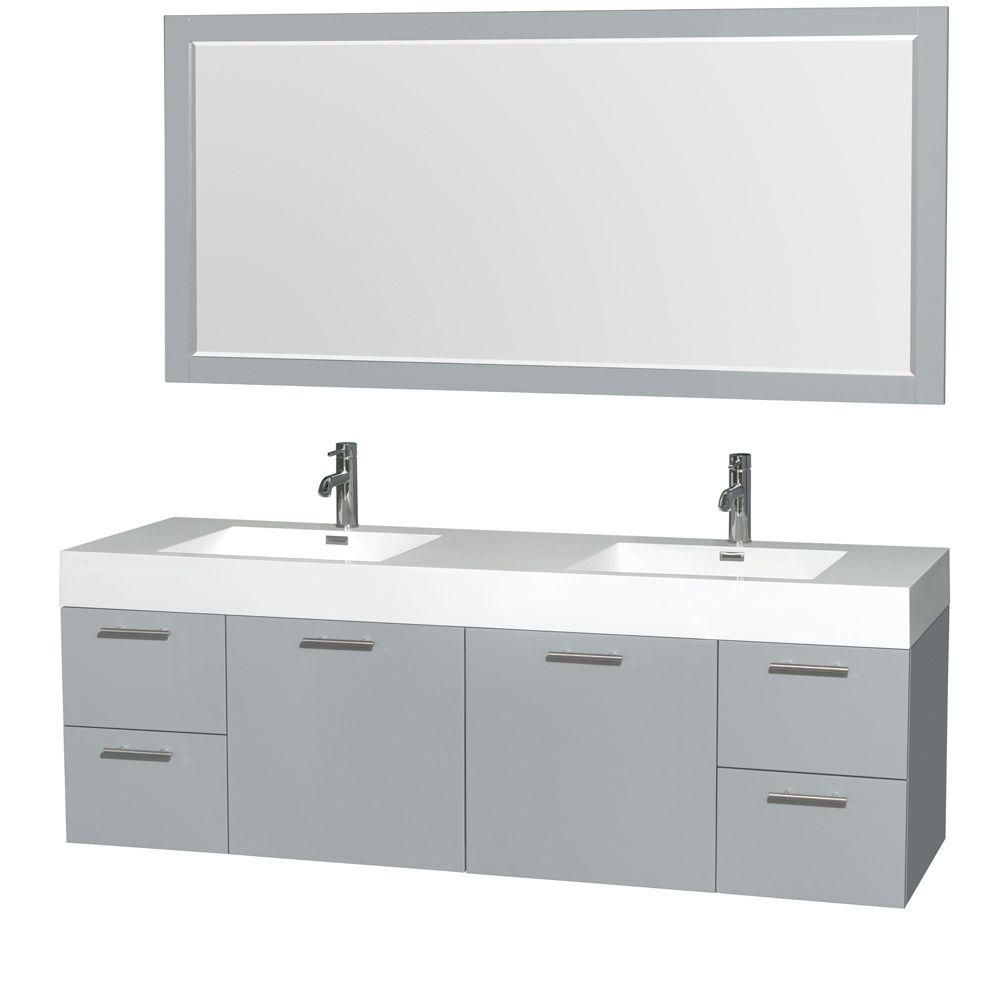 Wyndham Collection Amare 72-inch W 4-Drawer 2-Door Wall Mounted Vanity in Grey With Acrylic Top in White, Double Basins