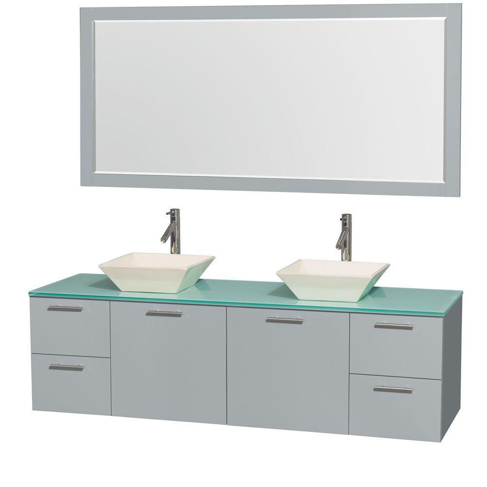 """Meuble s. bains dbl Amare 72"""" gris colombe, comptoir verre vert, éviers porcelaine fine, mir 70"""""""