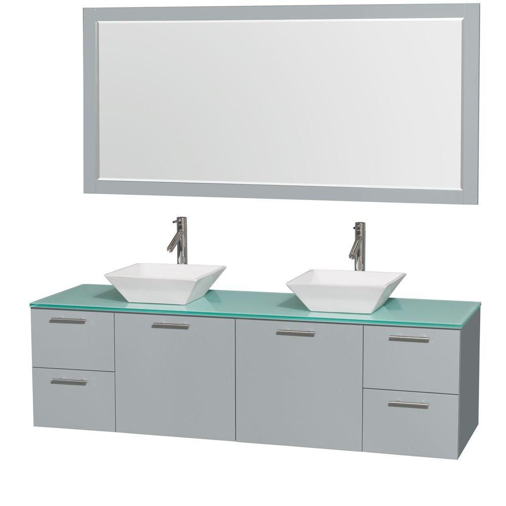 Amare 72-inch W Double Vanity in Dove Grey with White Porcelain Sinks and 70-inch Mirror