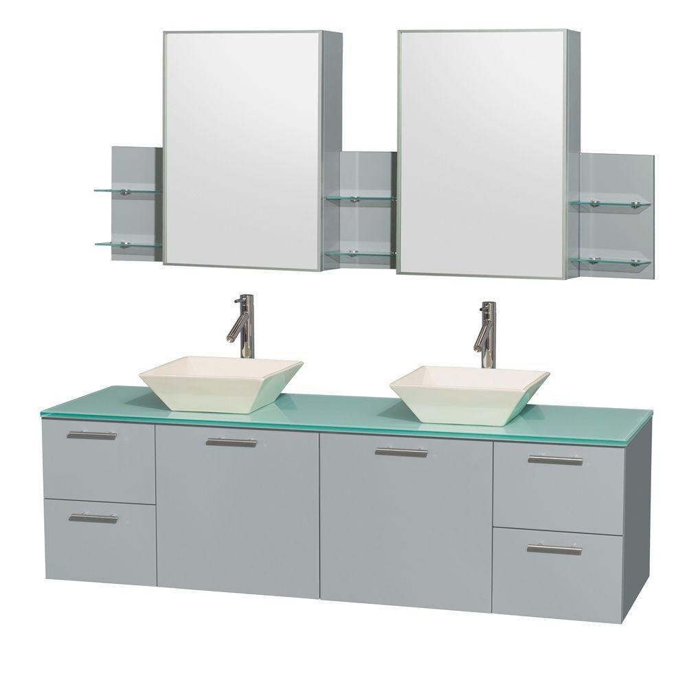 """Meuble s. bains dbl Amare 72"""" gris colombe, comptoir verre vert, éviers porcelaine fine, arm. méd..."""