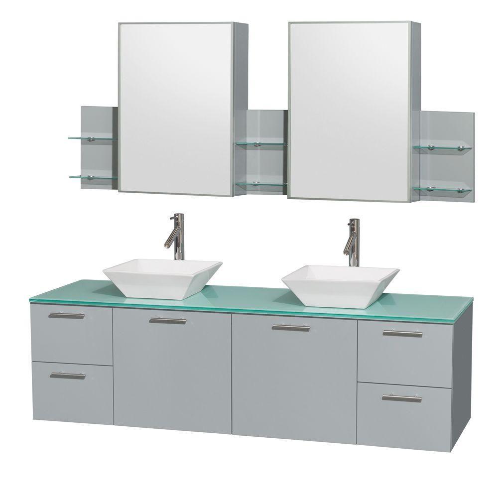 """Meuble s. bains dbl Amare 72"""" gris colombe, comptoir verre vert, éviers porcelaine blc, arm. médi..."""