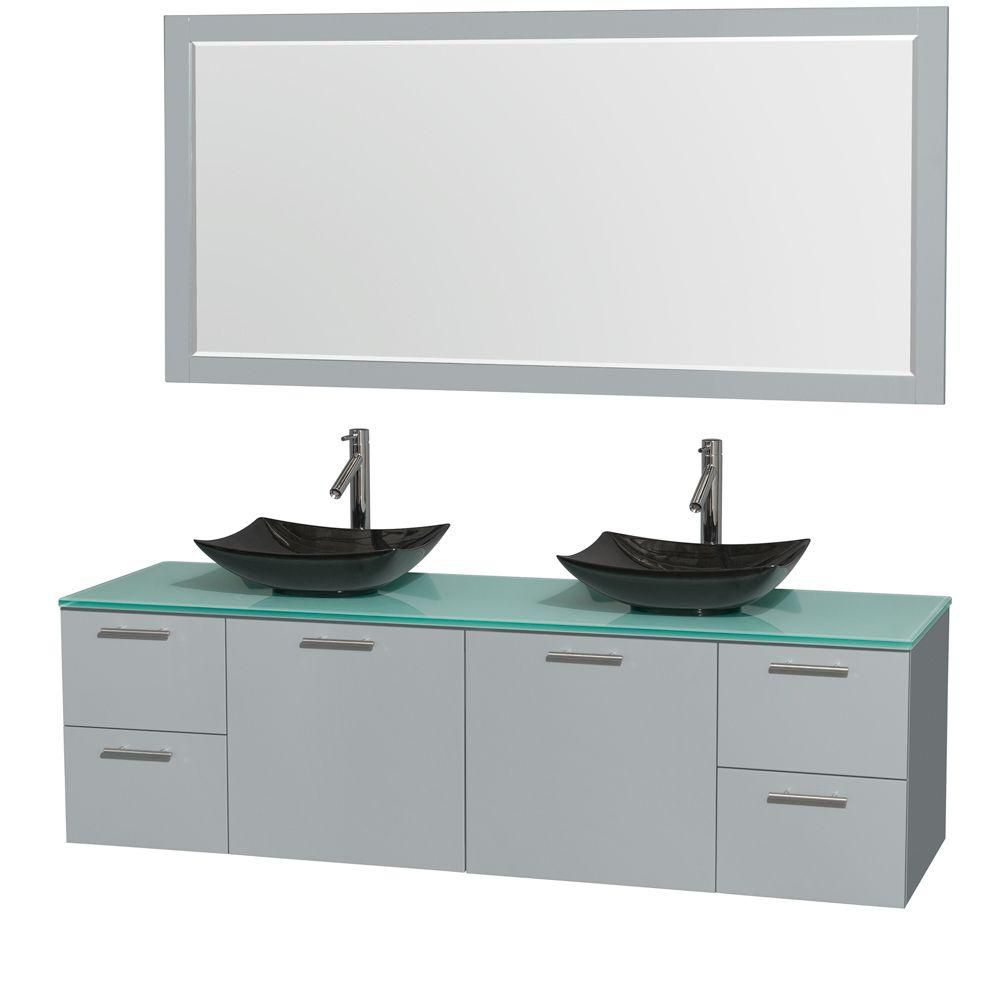 Amare 72-inch W Double Vanity in Dove Grey with Black Granite Sinks and Mirror