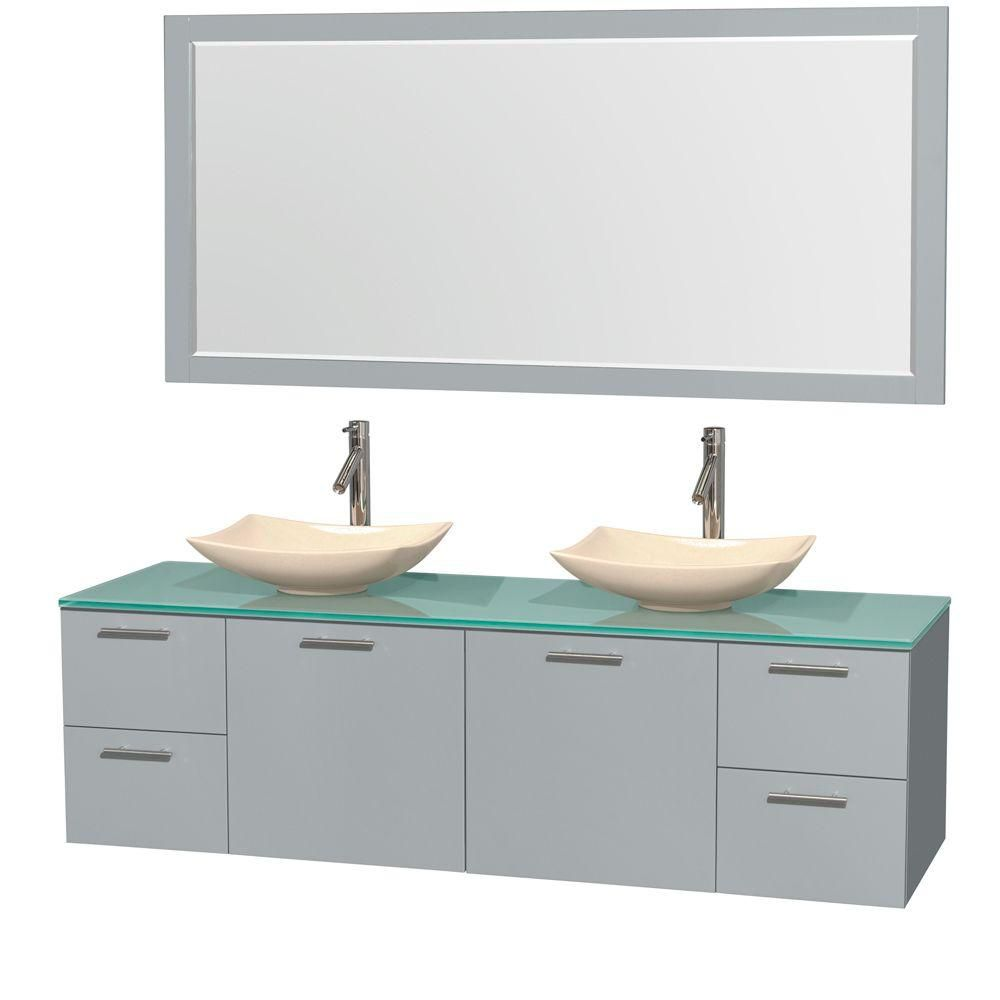 Amare 72-inch W Double Vanity in Dove Grey with Ivory Marble Sinks and Mirror
