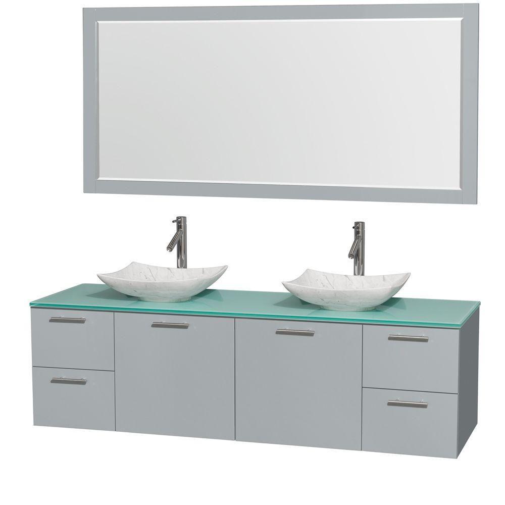 """Meuble s. bains dbl Amare 72"""" gris colombe, comptoir verre vert, éviers Carrare blc, mir 70"""""""