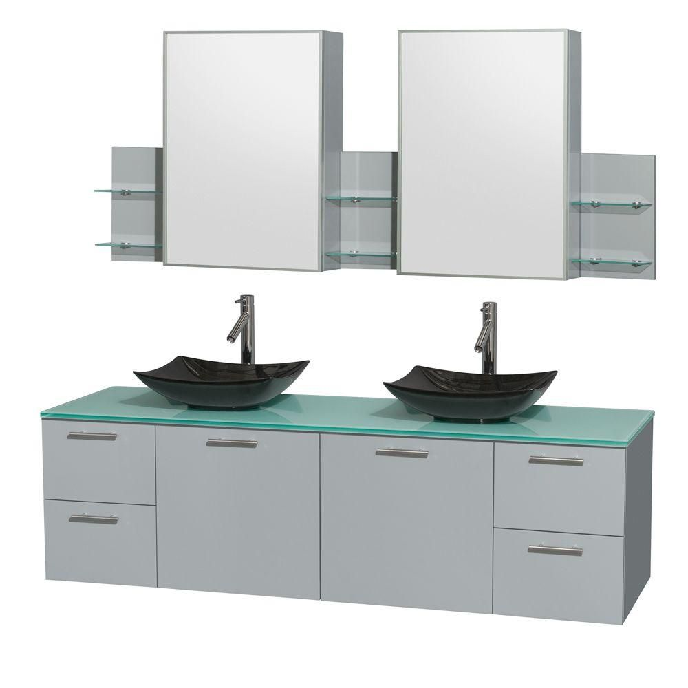 Amare 72-inch W Double Vanity in Dove Grey with Black Granite Sinks and Medicine Cabinet