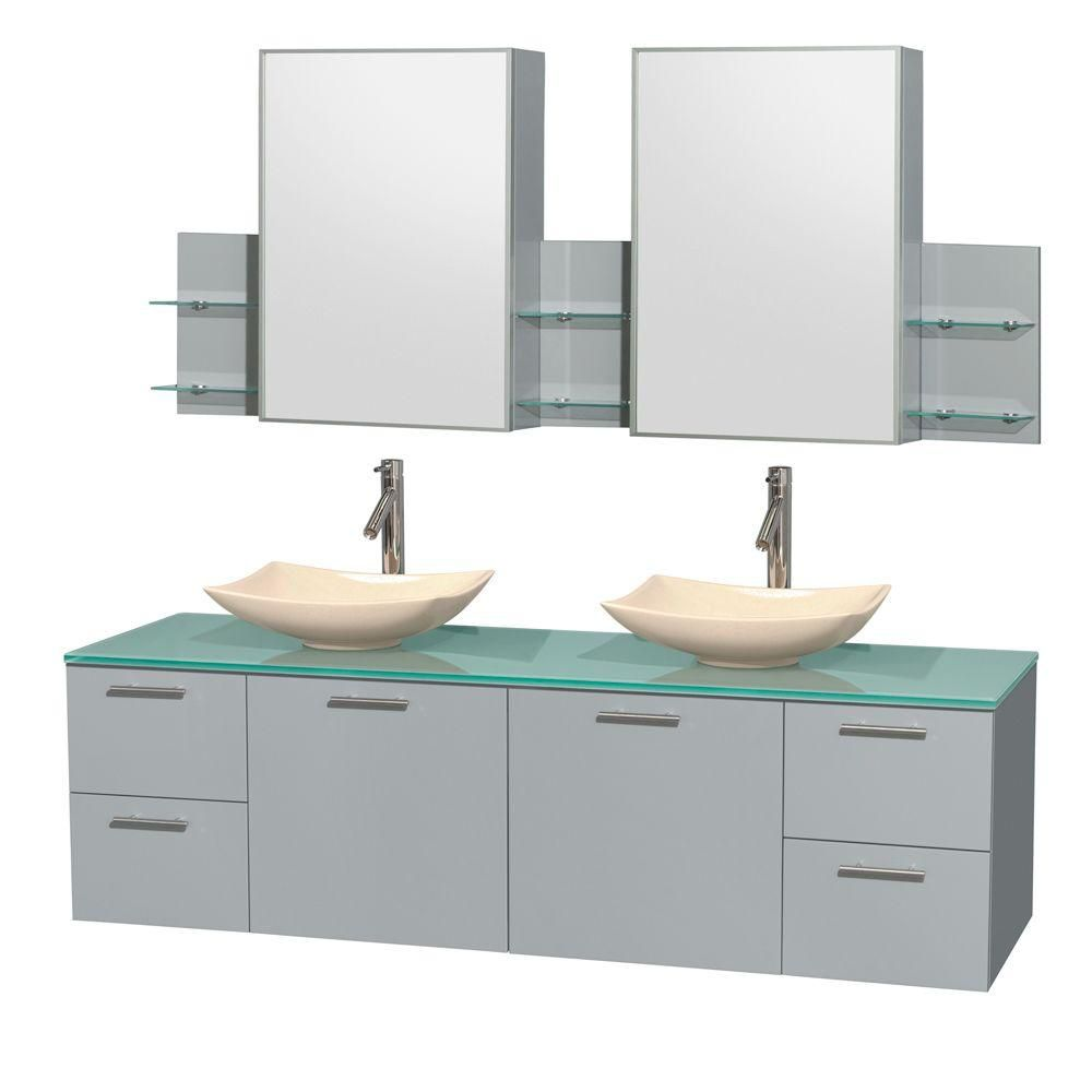 Amare 72-inch W Double Vanity in Dove Grey with Ivory Marble Sinks and Medicine Cabinet
