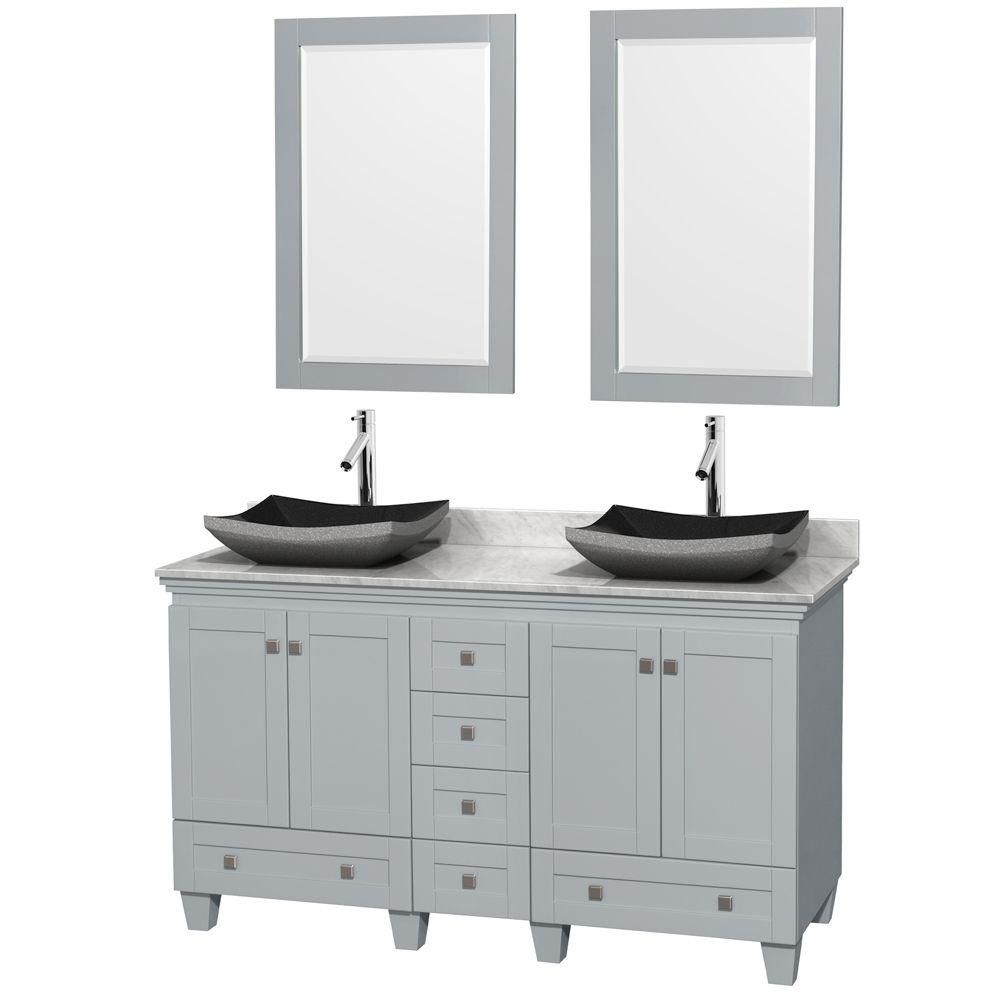 Acclaim 60-inch W Double Vanity in Oyster Grey with Black Granite Sinks and Mirrors