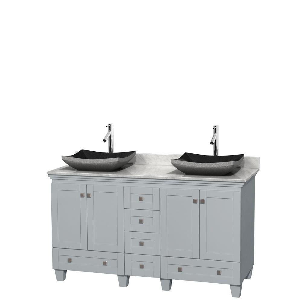 Acclaim 60-inch W Double Vanity in Oyster Grey with Carrara Top and Black Granite Sinks