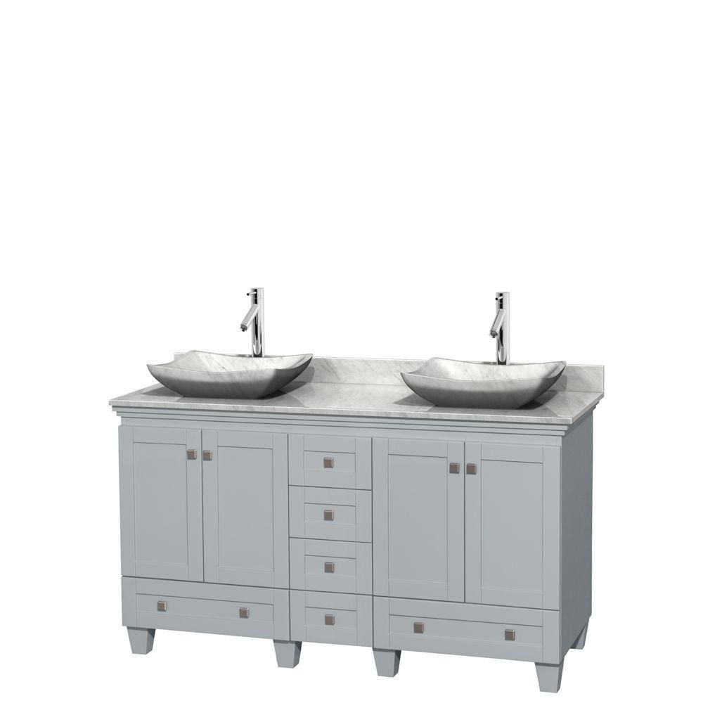 Acclaim 60-inch W Double Vanity in Oyster Grey with Carrara Top and Carrara White Sinks