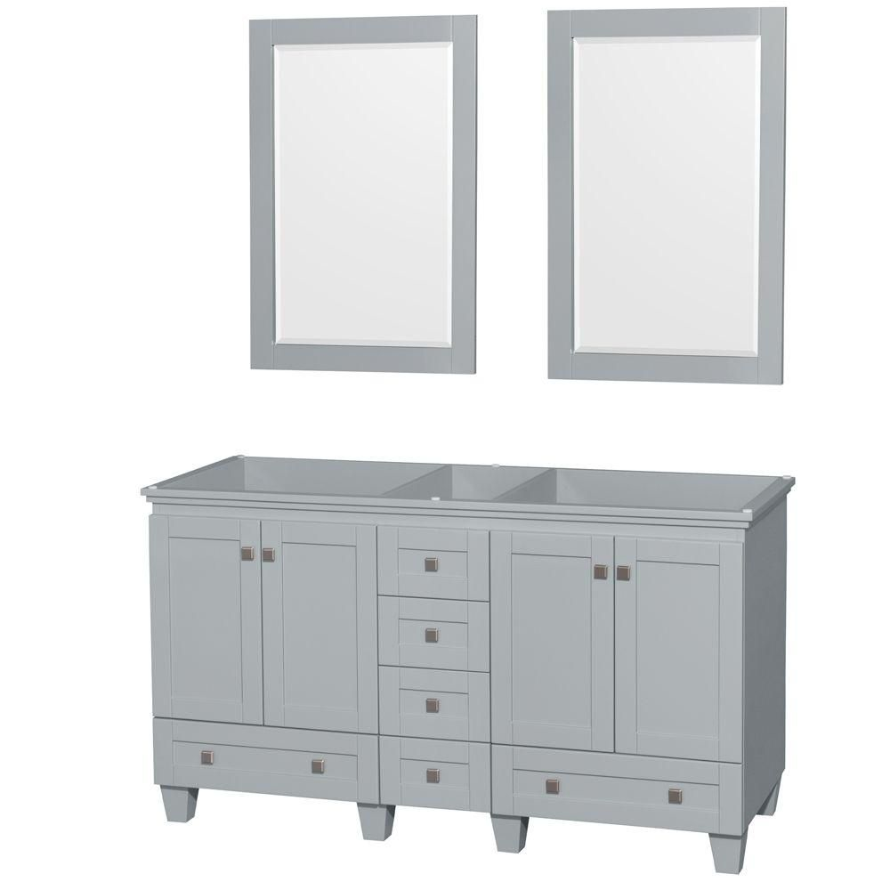 Acclaim 60-Inch  Double Vanity Cabinet with Mirrors in Oyster Grey